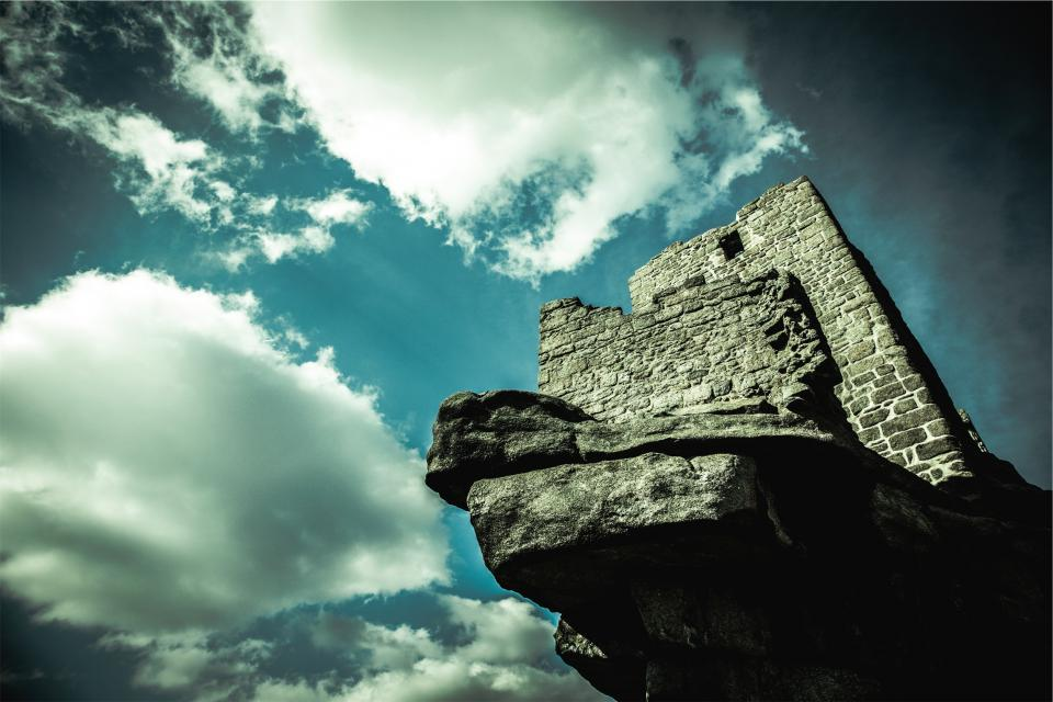 castle, wall, stones, rocks, blue sky, clouds, history