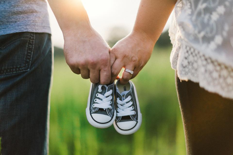 baby, shoes, family, father, dad, mother, mom, people, hands, ring