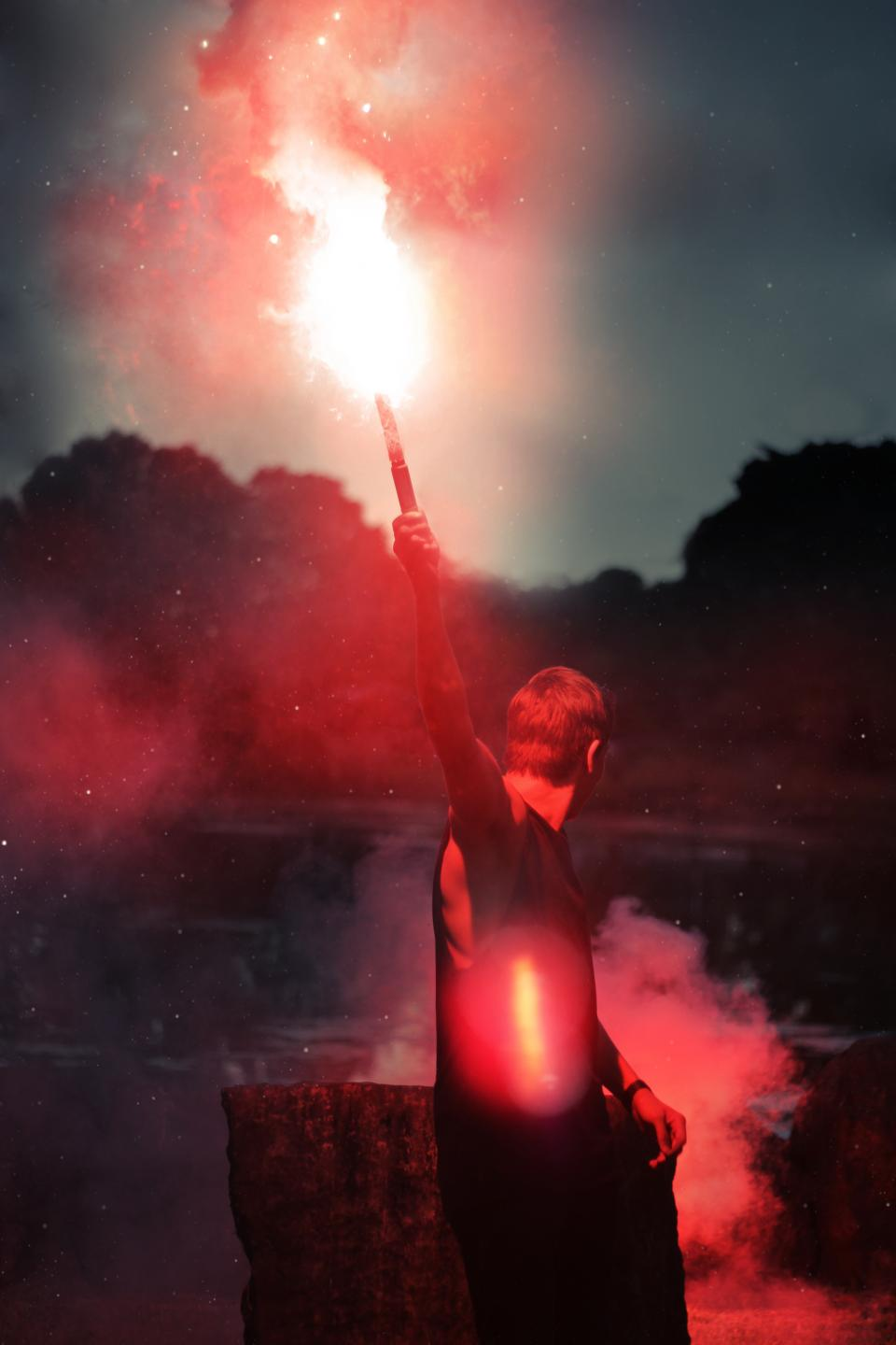 flare, light, smoke, guy, man, people, night, evening