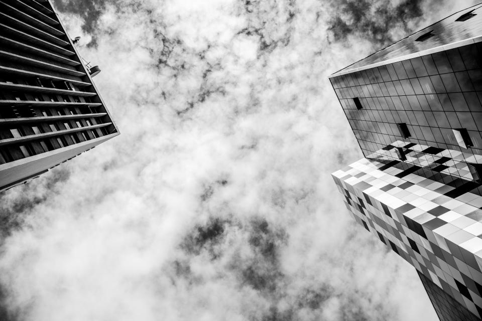 buildings, architecture, city, urban, windows, business, corporate, sky, clouds, black and white
