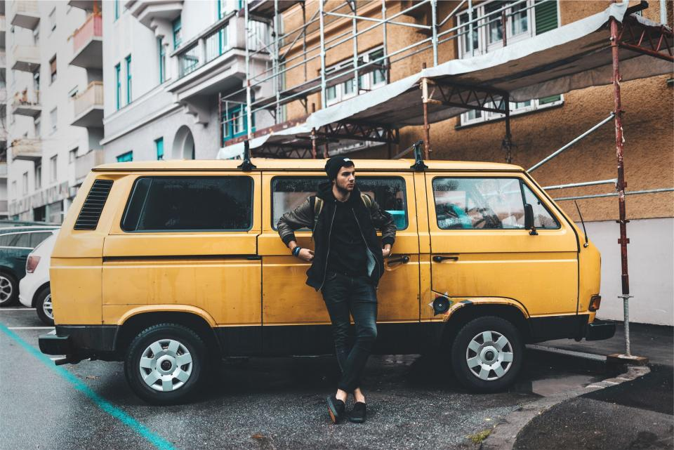 yellow, van, young, guy, hat, toque, beanie, jacket, backpack, knapsack, jeans, denim, shoes, fashion, city, urban, people