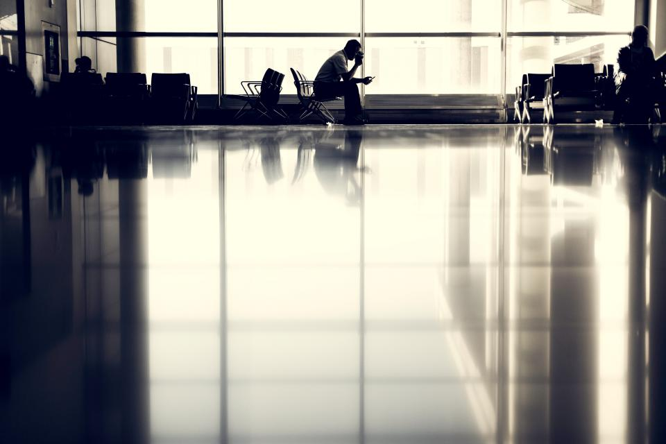 airport, people, waiting, seats, chairs, windows, reflection, travel, trip, transportation