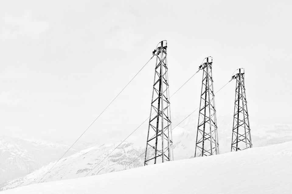 power lines, mountains, sky, black and white, snow, cold, winter