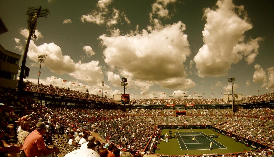 tennis, court, stadium, crowd, spectators, sports, net, rogers centre, sky, clouds, athletes, flags