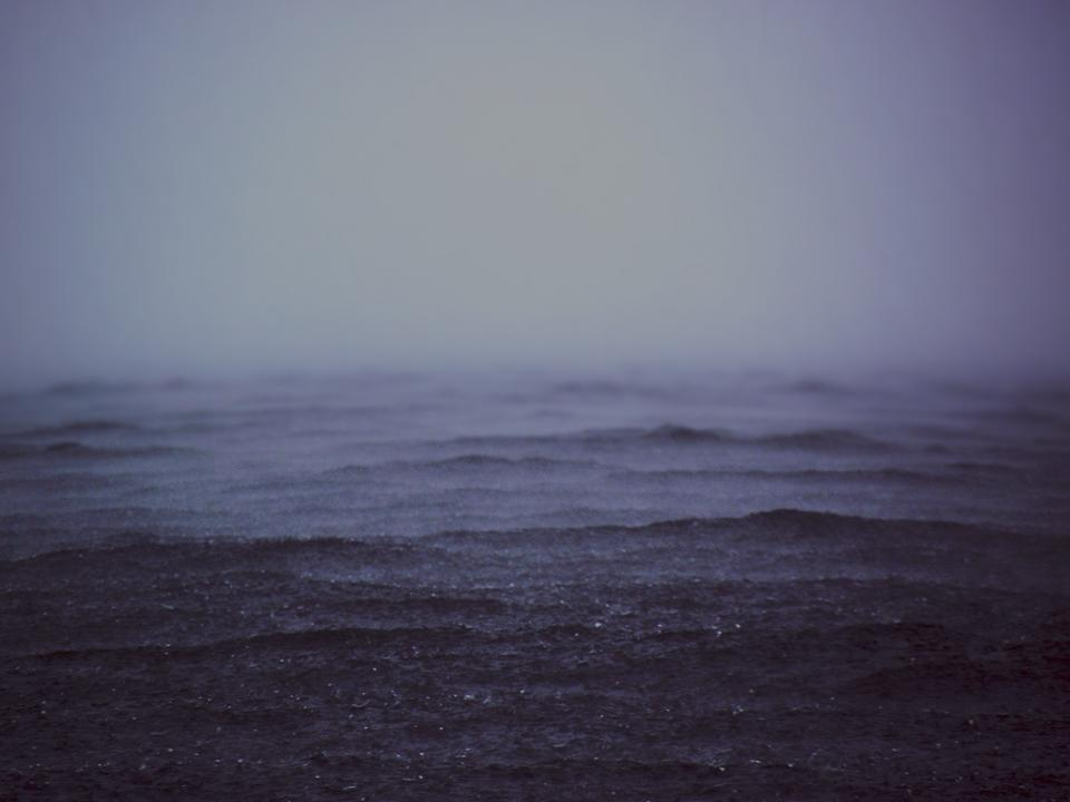 dark, fog, hazy, water, sea