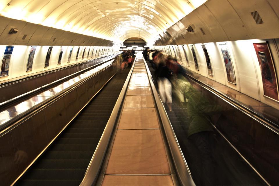 train station, walkway, signs, posters, travel, transportation, subway