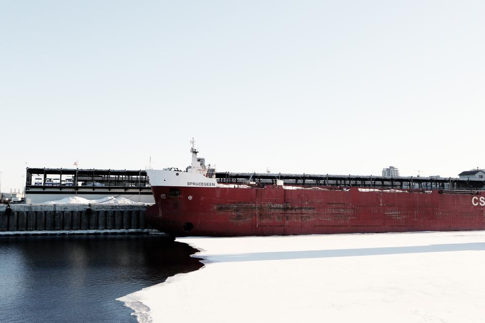 ship, container, carrier, cargo, water, ice, winter, transportation