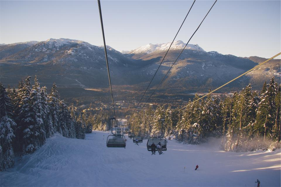 chairlift, snowboarding, skiing, winter, snow, hills, mountains, cold, sports, outdoors, trees, fun, people
