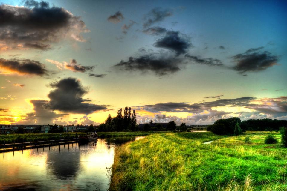 sunset, sky, dawn, clouds, river, water, grass, field, landscape