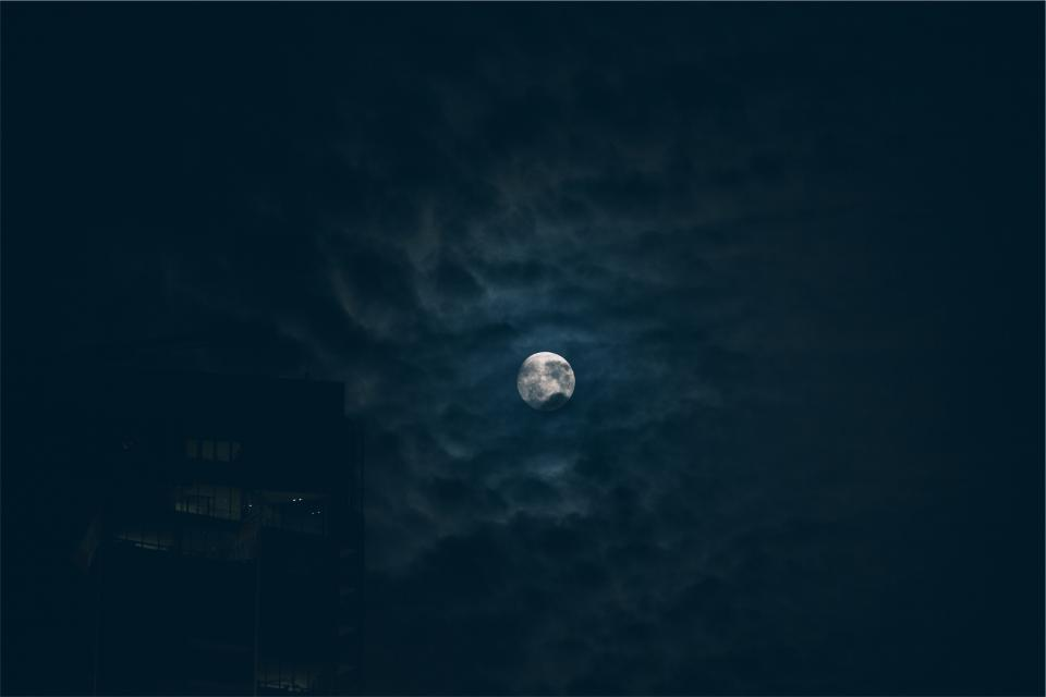 moon, night, sky, dark, clouds, evening