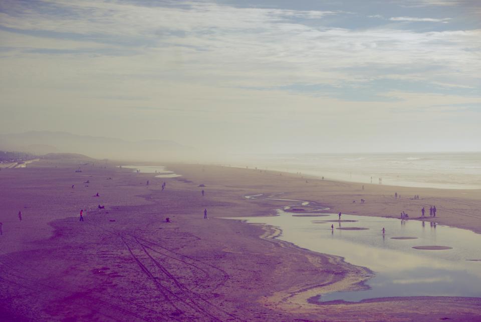 sky, clouds, beach, ocean, water, people, tracks, sand, shore, tide