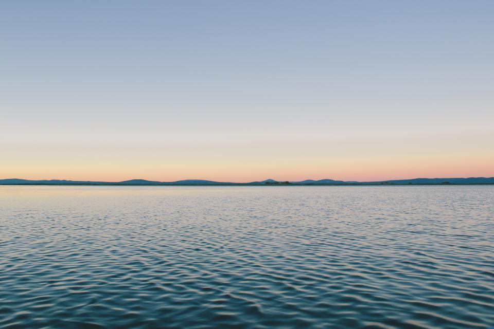 blue, sky, sunset, lake, water, ripples, outdoors, mountains, hills