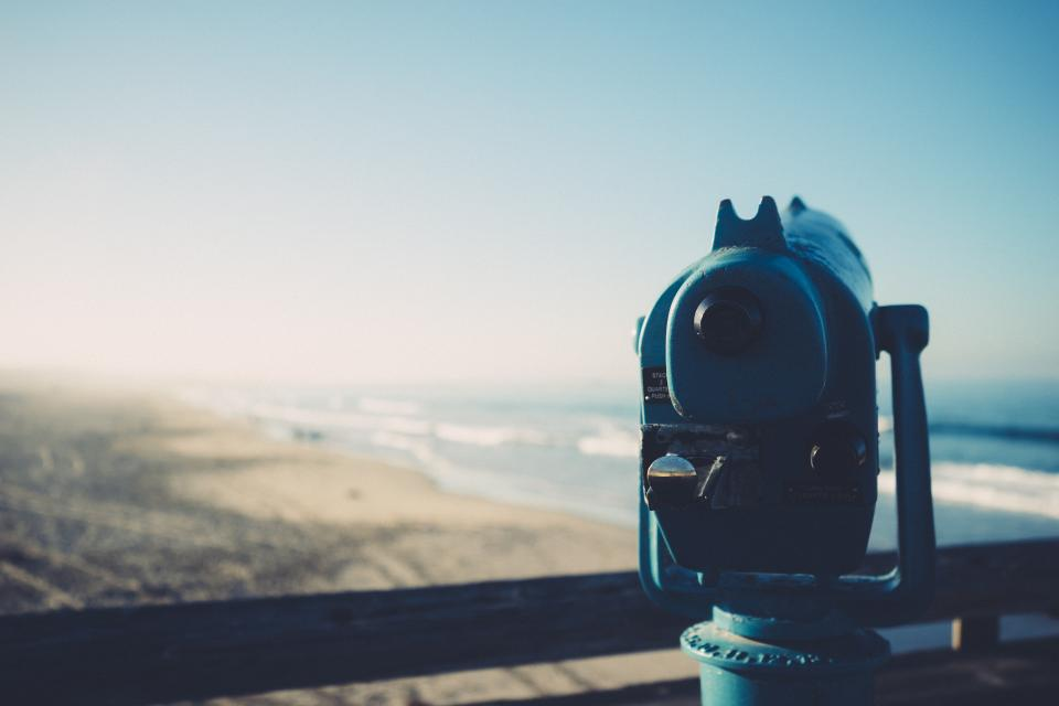 binoculars, tower viewer, lookout, beach, sand, water, waves