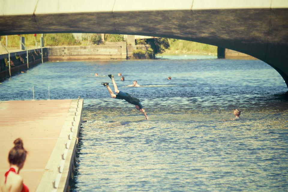 swimming, diving, dive, water, bridge, people, summer