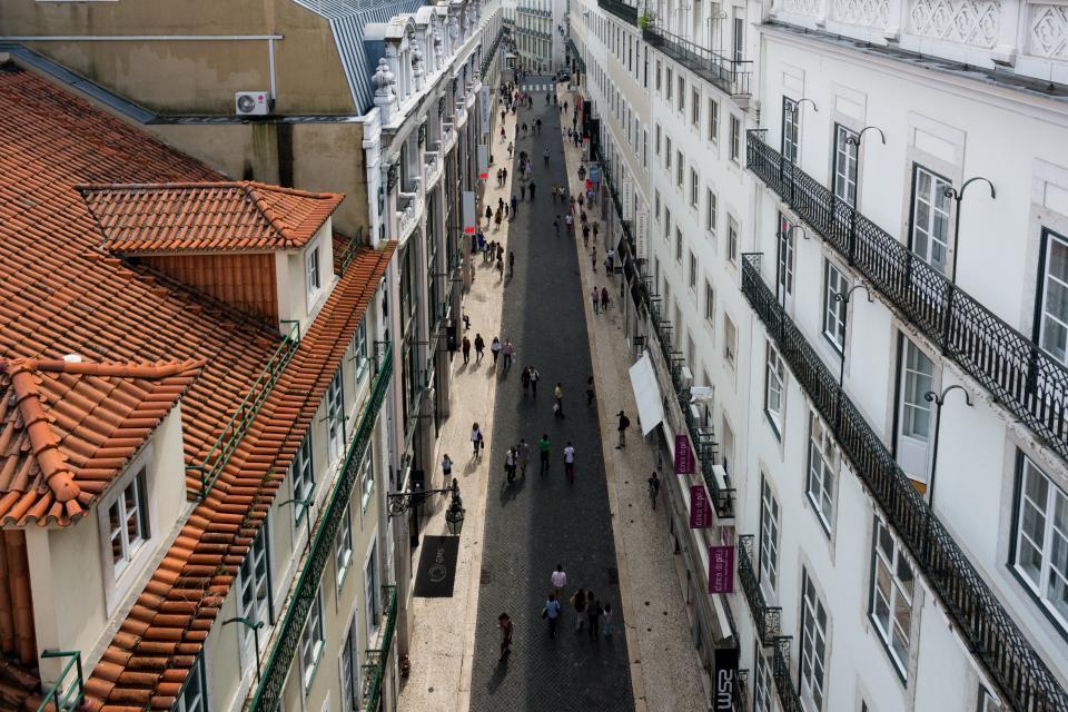 lisbon, portugal, street, buildings, architecture, houses, apartments, windows, people, pedestrians, walking, stores, shops