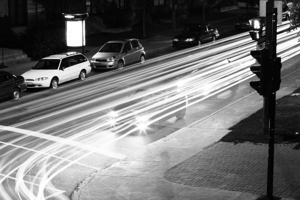 cars, driving, parking, parked, lights, road, street, traffic lights, sidewalk, concrete, dark, night, signs