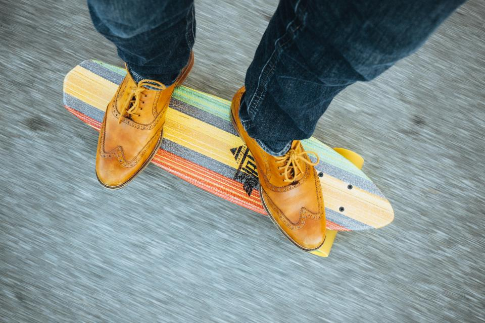 shoes, laces, jeans, pants, skateboard, longboard, riding