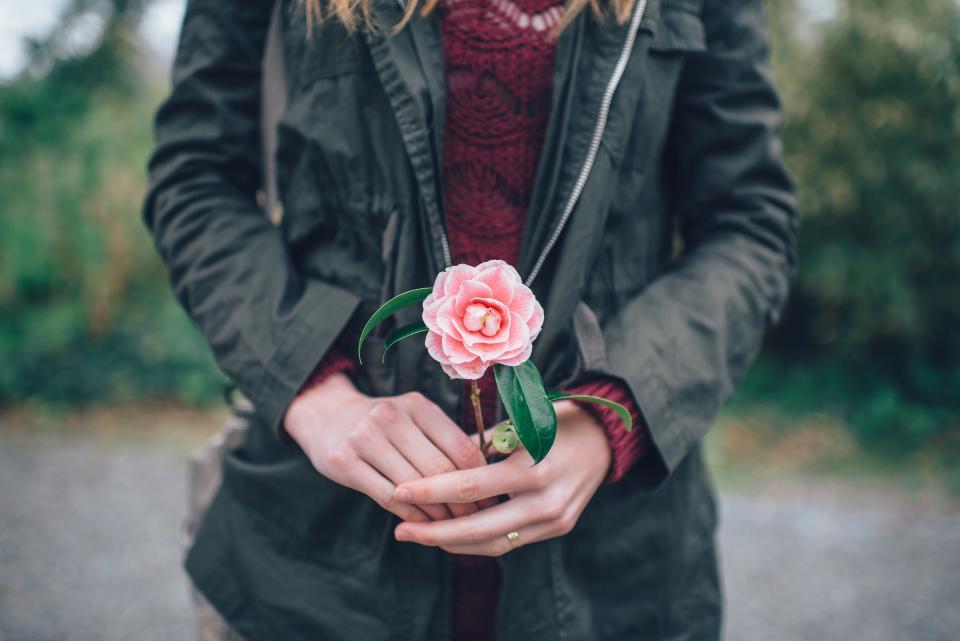 pink, flower, people, lifestyle, coat, jacket, hands, love, romance, romantic