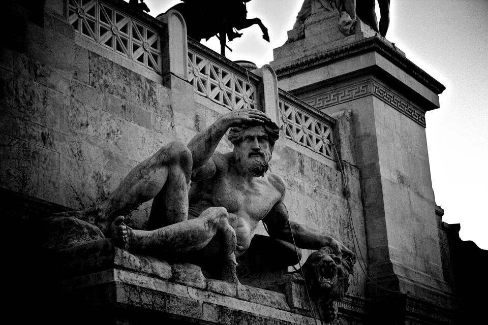 statue, sculpture, roman, architecture, art, Rome, black and white
