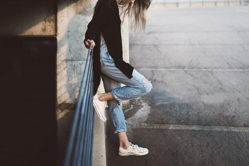 girl, woman, jeans, fashion, shoes, sneakers, parking lot, lifestyle, people, urban, long hair, brunette, model