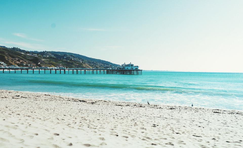 beach, sand, pier, ocean, sea, summer, sunshine, sunny, sky, coast, water, tropical