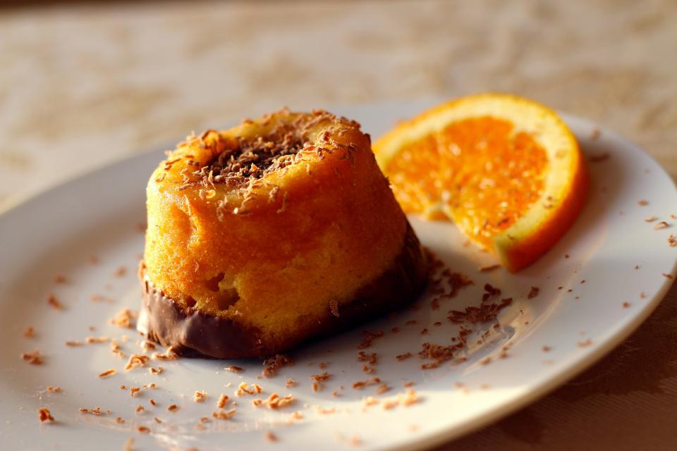 cake, dessert, sweets, orange slice, fruit