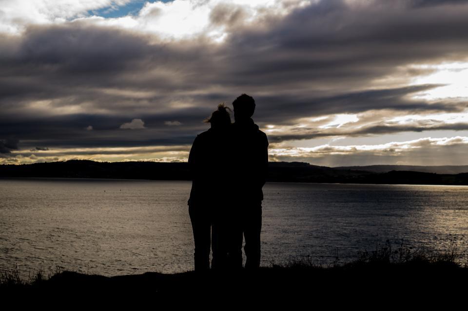romantic, couple, romance, man, woman, sunset, dusk, sky, clouds, water, lake, landscape