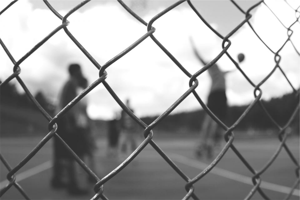 chainlink, fence, basketball, court, sports, people, athletes, fitness