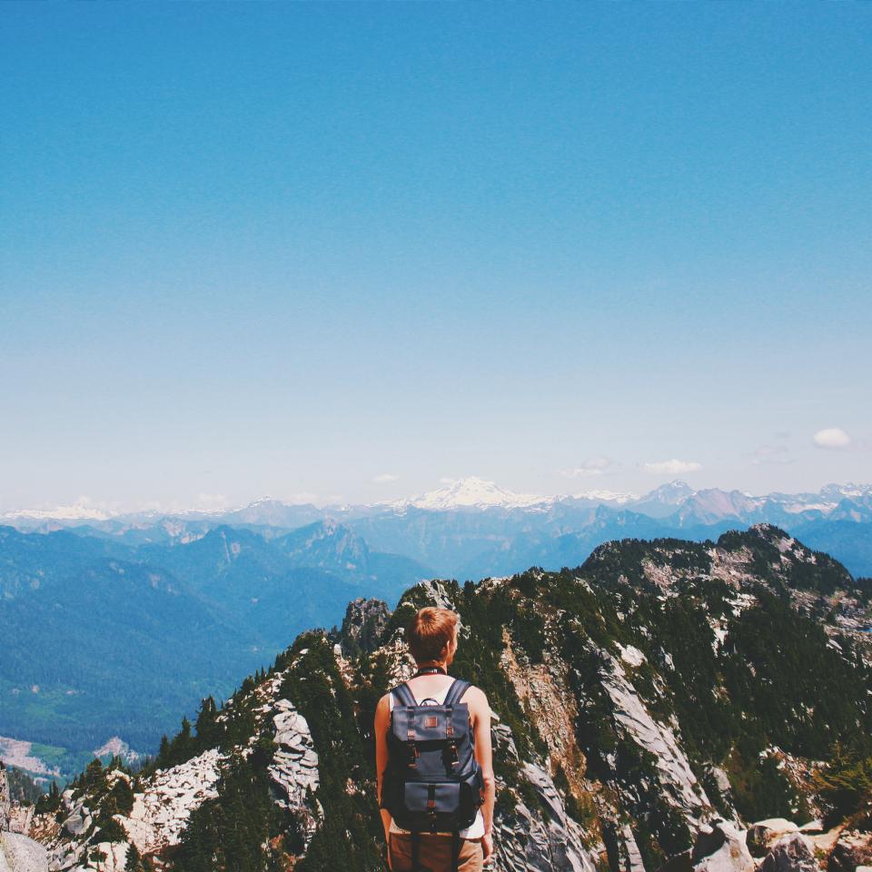 mountains, peaks, summit, cliffs, guy, man, people, backpack, hiking, trekking, adventure, landscape, nature, blue, sky, sunshine, summer, outdoors