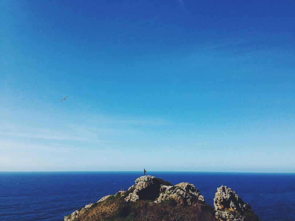 blue, sky, water, sea, ocean, rocks, cliffs, peaks, bird, flying, hiking, hike