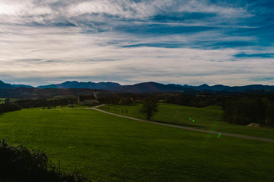grass, fields, mountains, landscape, sky, clouds, country, horizon