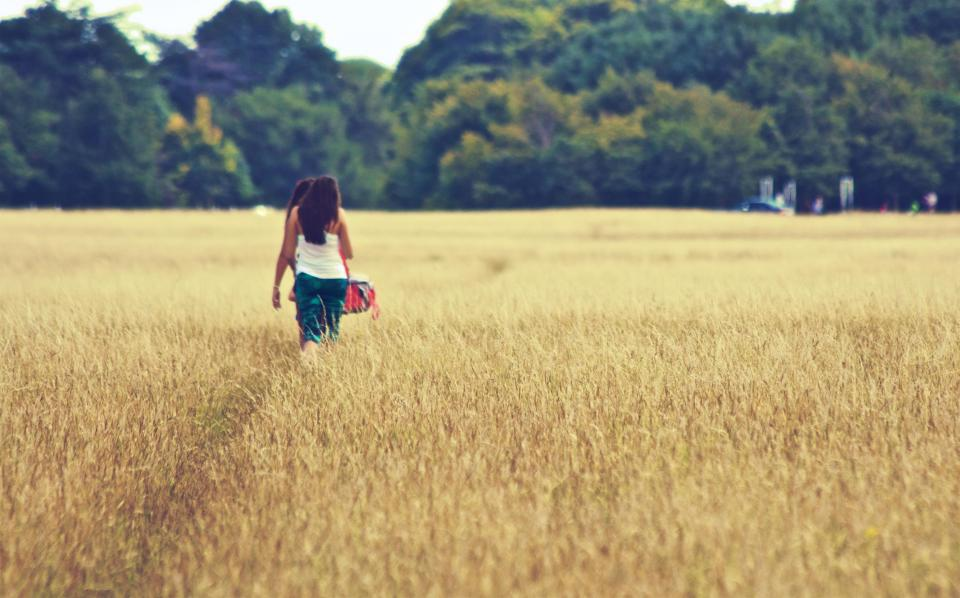 field, plants, crops, agriculture, trees, forest, woods, outdoors, nature, girls, woman, people, walking, path, trail