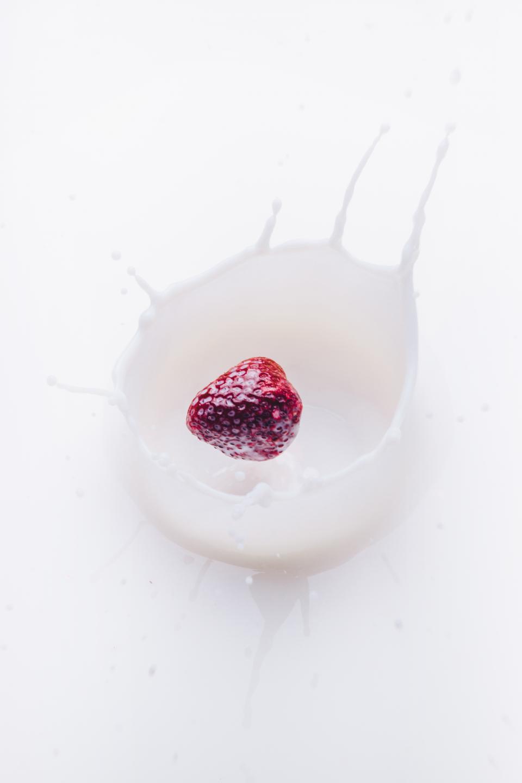 strawberry, milk, fruit, food