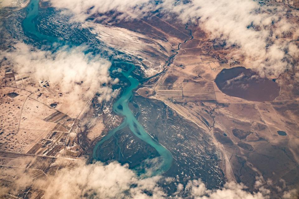 aerial, view, sky, clouds, airplane, travel, flying, above the clouds, fields, landscape, river, water