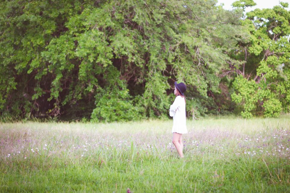 girl, field, grass, nature, trees, forest, people