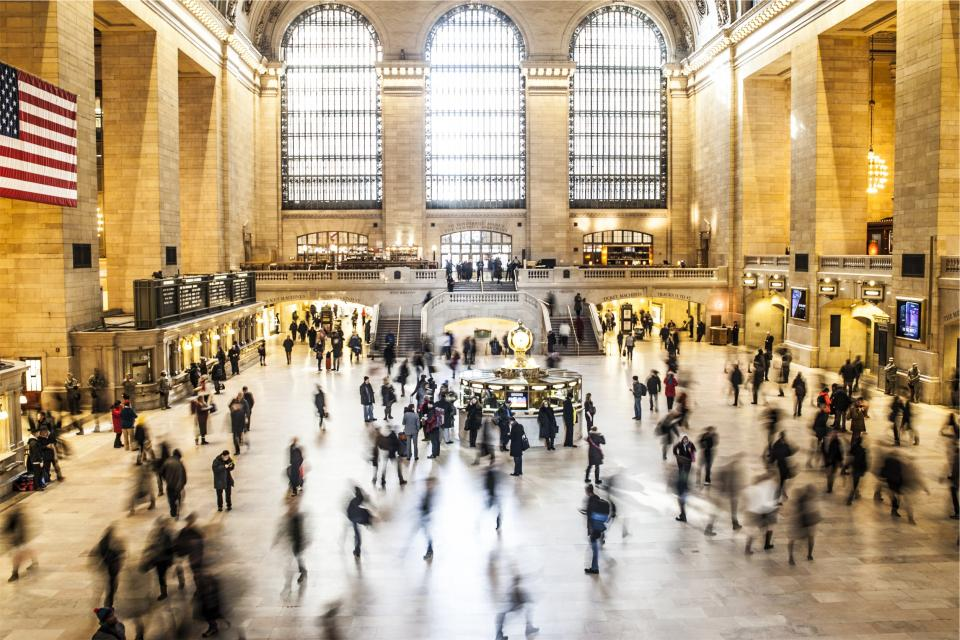 Grand central station, New York, NYC, people, crowd, architecture, USA, flag, transportation