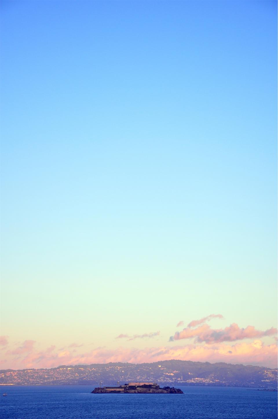 Alcatraz, Island, San Francisco, California, United States, USA, prison, city, mountains, hills, sky, clouds, water