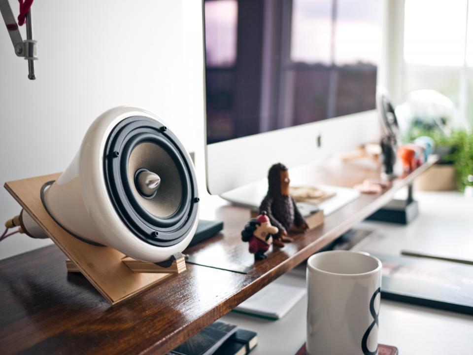 speaker, sound, music, wood, shelf, trinkets, figurines, mug, cup, desk, monitor, mac, desk, work, office