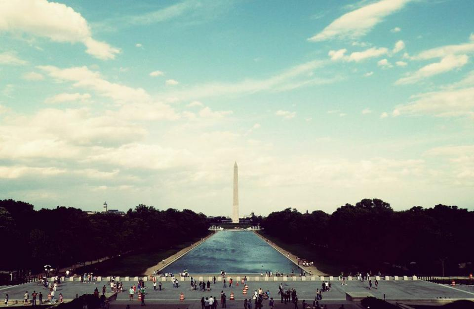 washington dc, monument, architecture, usa, united states, america, people, tourists, crowd, street, trees, sky, clouds