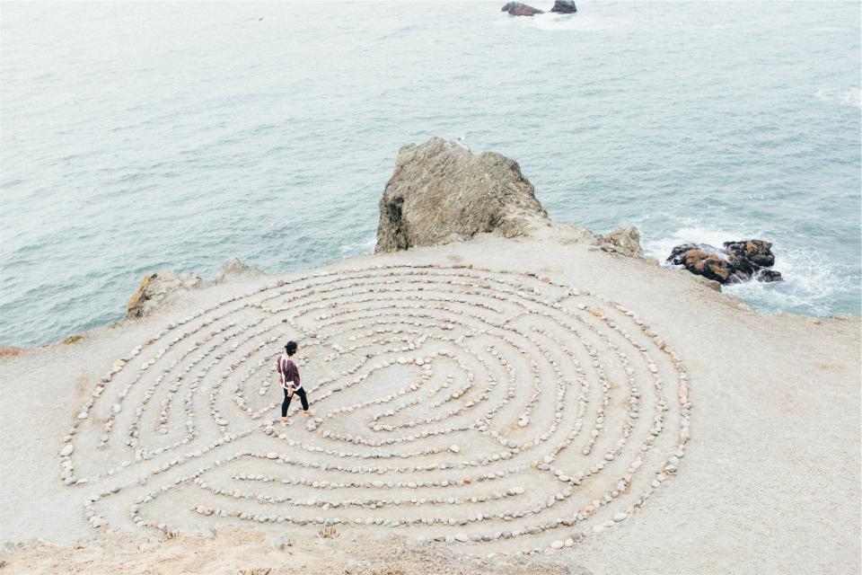 beach, sand, rocks, water, waves, ocean, sea, girl, woman, people