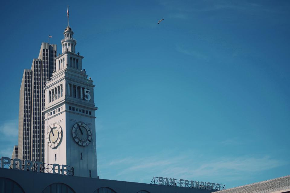 San Francisco, buildings, clock, towers, architecture, city, blue, sky