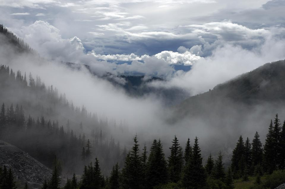 sky, clouds, mountains, hills, trees, nature, outdoors, woods, fog, haze, hike, trek