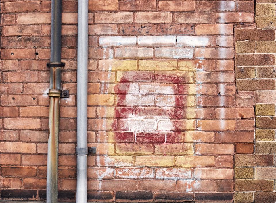 bricks, wall, pipes