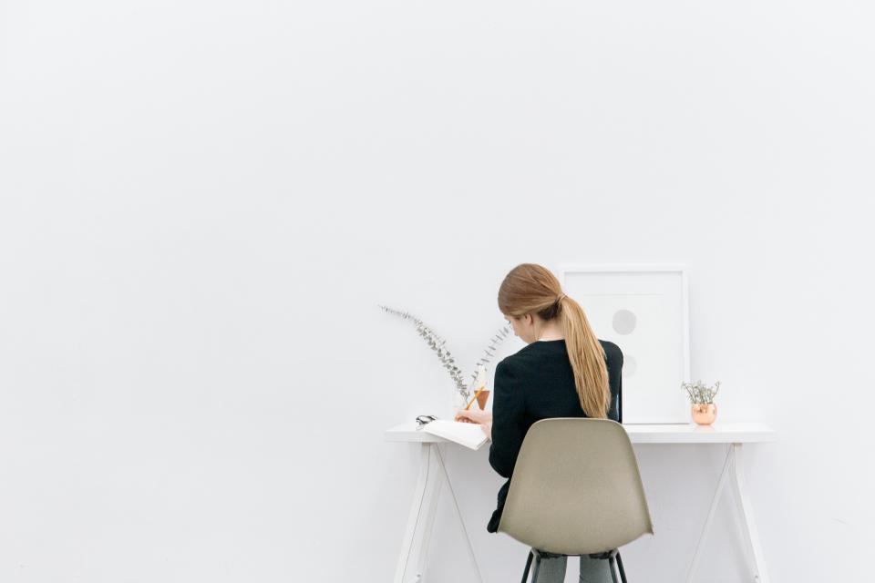 girl, woman, working, office, business, creative, design, writing, reading, book, decor, desk, white, people