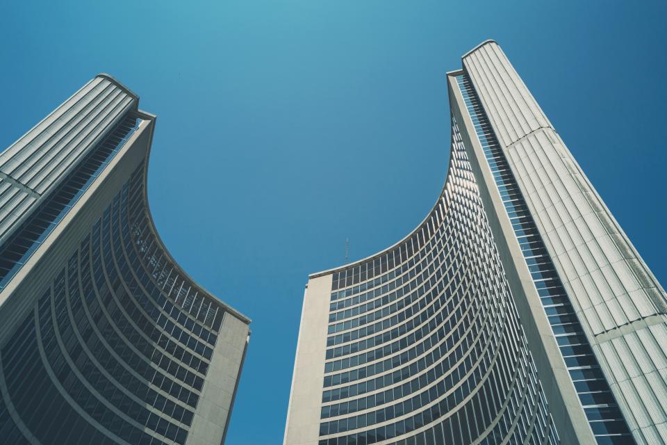 buildings, architecture, blue, sky, city, urban, business, corporate, windows, high rises, office