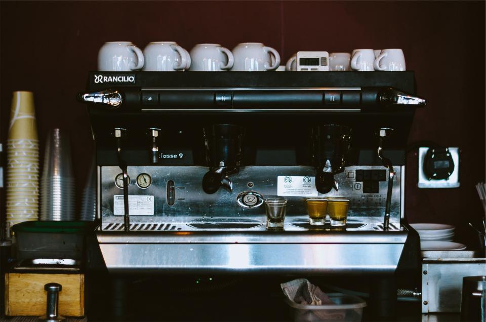 espresso machine, coffee, cafe, restaurant, cups, equipment, kitchen