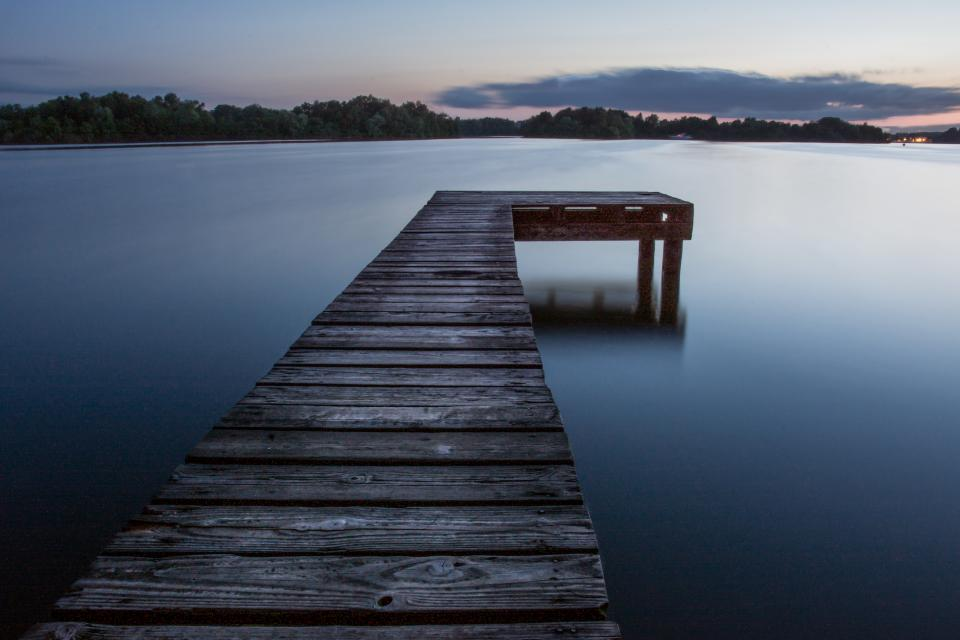 wood, dock, lake, water, dusk