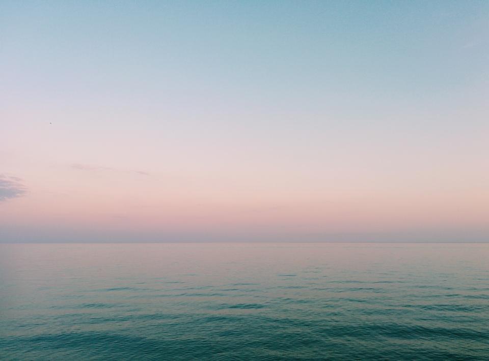 nature, water, ocean, sea, surface, still, calm, gradient, blue, pink, purple