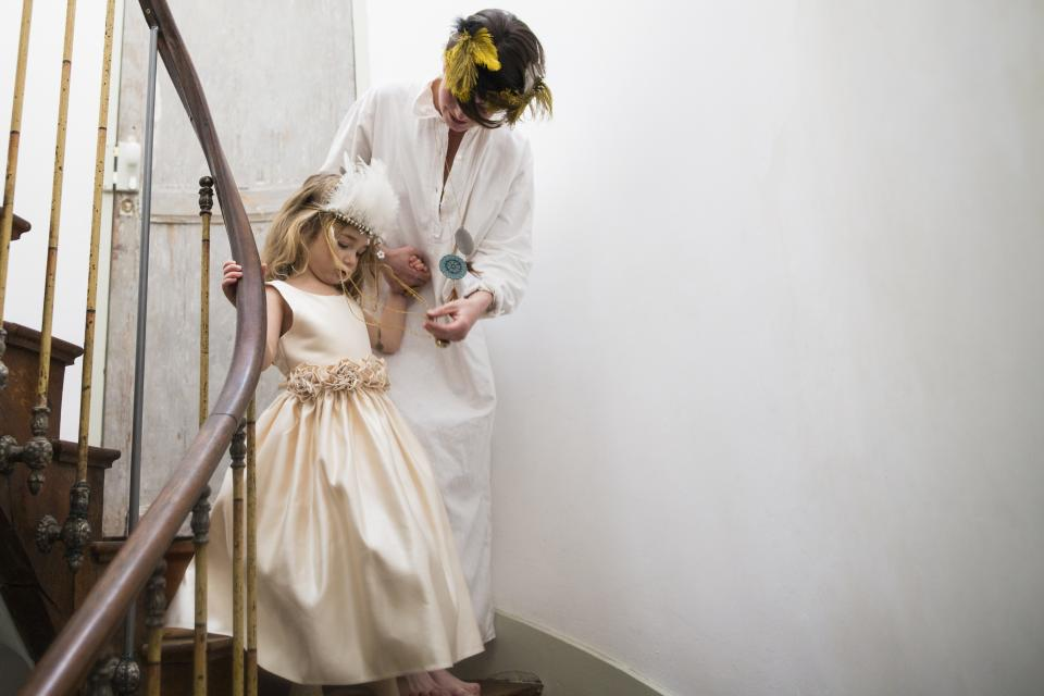 people, mother, daughter, family, gown, robe, stairs, steel, industrial, white, walls, wedding, event