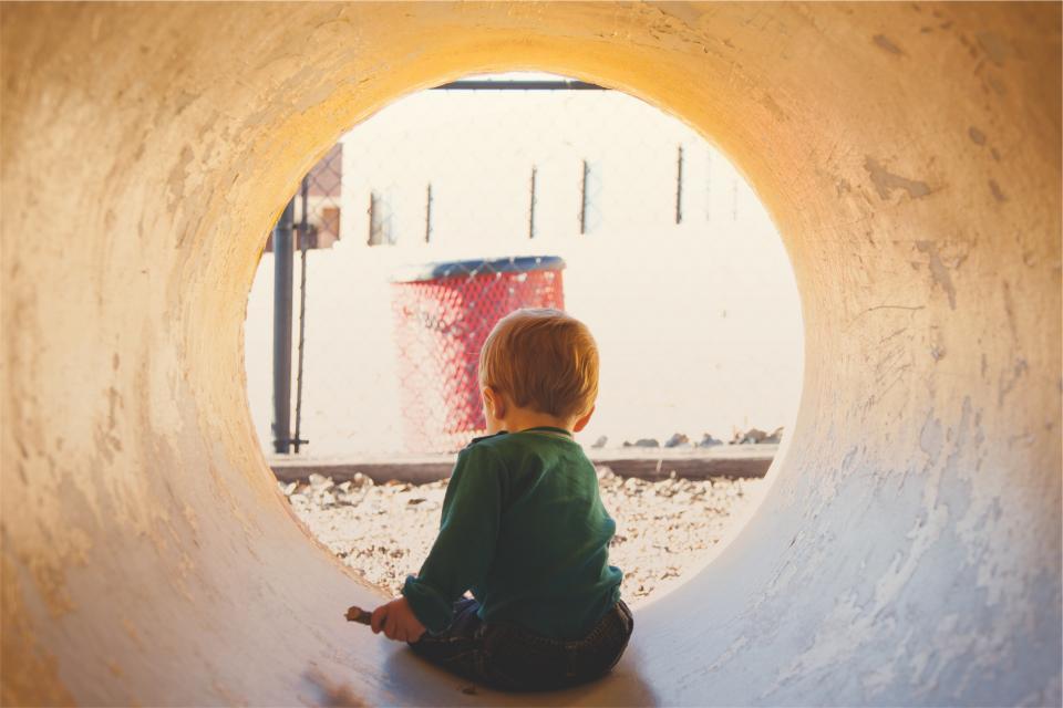 child, kid, tunnel, playing, fun